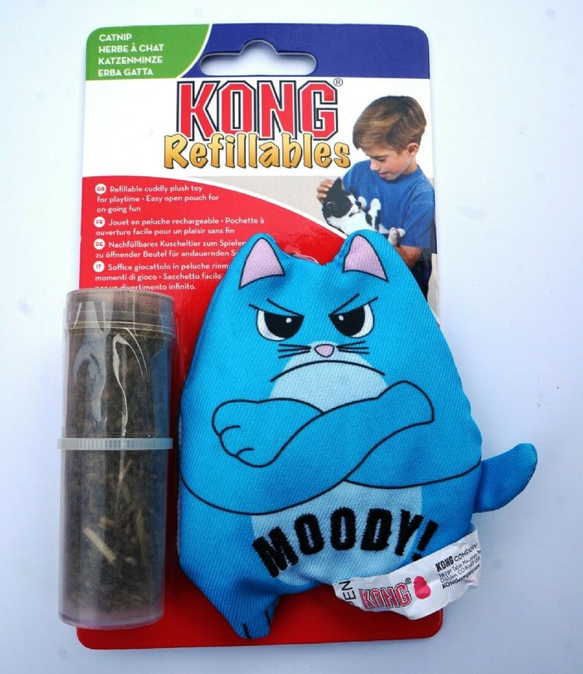 KONG REFILLABLE CATNIP MOODY CAT CUDDLY PLUSH CAT TOY WITH EASY OPEN POUCH